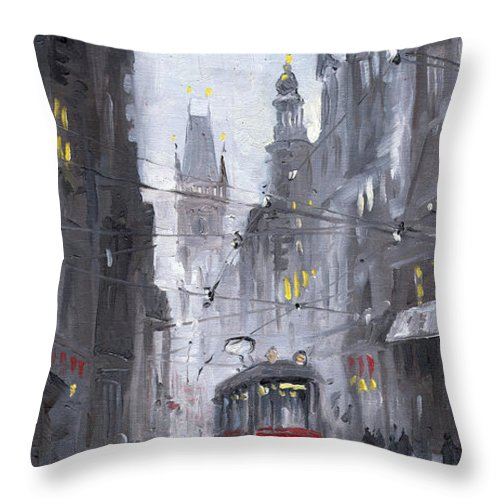 Oil On Canvas Throw Pillow featuring the painting Prague Old Tram 03 by Yuriy Shevchuk