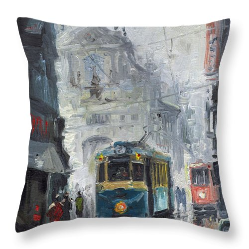 Oil On Canvas Throw Pillow featuring the painting Prague Old Tram 04 by Yuriy Shevchuk