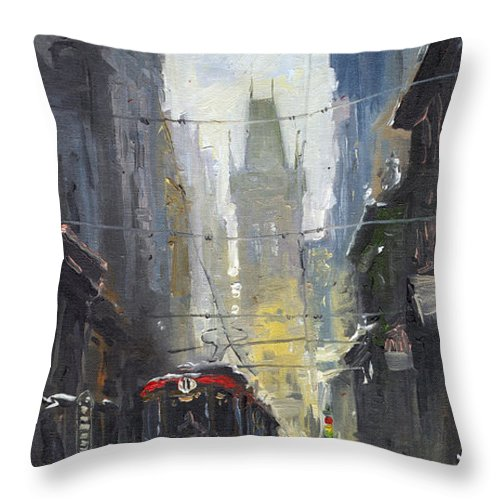 Oil On Canvas Paintings Throw Pillow featuring the painting Prague Old Tram 05 by Yuriy Shevchuk