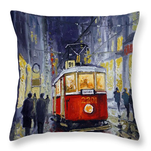 Oil Throw Pillow featuring the painting Prague Old Tram 06 by Yuriy Shevchuk