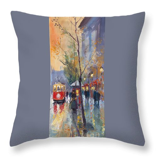Prague Throw Pillow featuring the painting Prague Old Tram Vaclavske Square by Yuriy Shevchuk