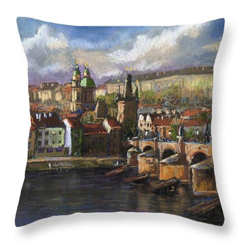 Pastel Throw Pillow featuring the painting Prague Panorama Charles Bridge Prague Castle by Yuriy Shevchuk