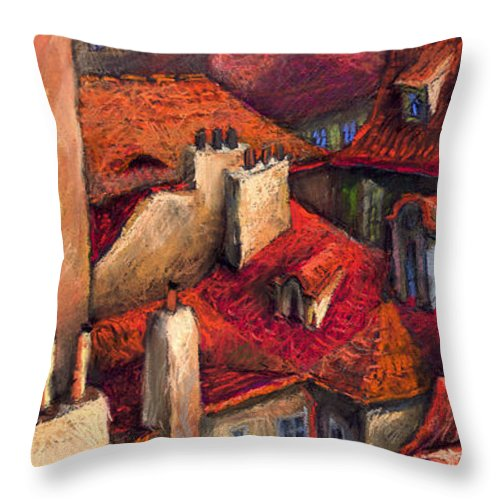 Prague Throw Pillow featuring the painting Prague Roofs by Yuriy Shevchuk