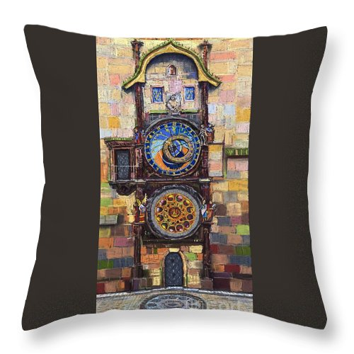 Cityscape Throw Pillow featuring the painting Prague The Horologue at OldTownHall by Yuriy Shevchuk