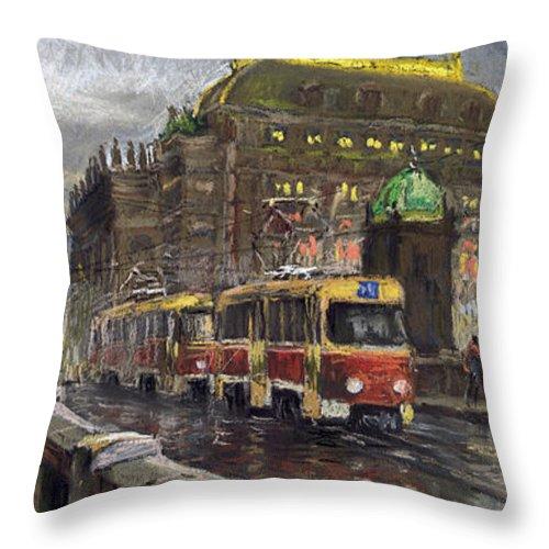 Prague Throw Pillow featuring the painting Prague Tram Legii Bridge National Theatre by Yuriy Shevchuk