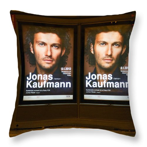 Ad Throw Pillow featuring the photograph Praha Bus Station by Stelios Kleanthous