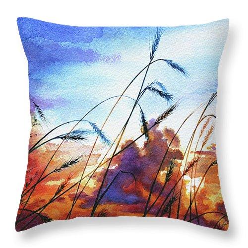 Prairie Sky Painting Throw Pillow featuring the painting Prairie Sky by Hanne Lore Koehler