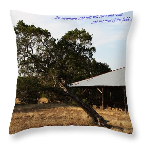 Tabernacle Throw Pillow featuring the photograph Isaiah 55 12 by Deana Connell