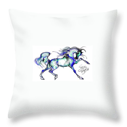Arabian Horse Throw Pillow featuring the digital art Prancing Arabian Horse by Stacey Mayer