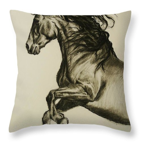 Horse Throw Pillow featuring the drawing Prancing Horse by Veronica Coulston