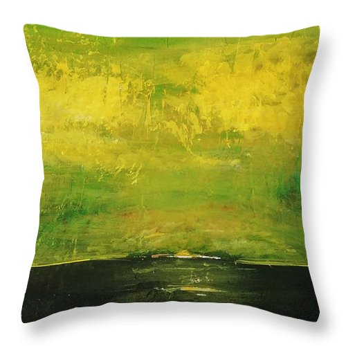 Country Throw Pillow featuring the painting Prarie at Sunrise by J Bauer