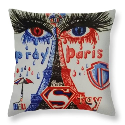 Blue Contemporary Cries Cry Eiffel Eyes France Markers Paris Permanent Portrait Red Sharpie Tears Throw Pillow featuring the drawing Pray For Paris by Uzor Dijeh