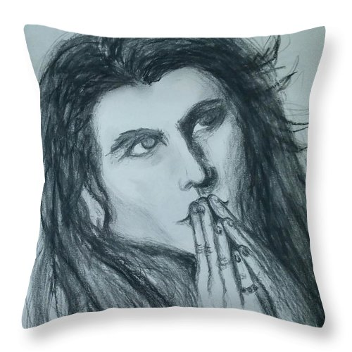 Throw Pillow featuring the drawing Pray For Peace by Heather James