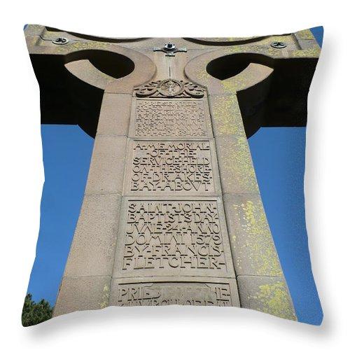 Cross Throw Pillow featuring the photograph Prayer Book Cross In Golden Gate Park by Carol Groenen