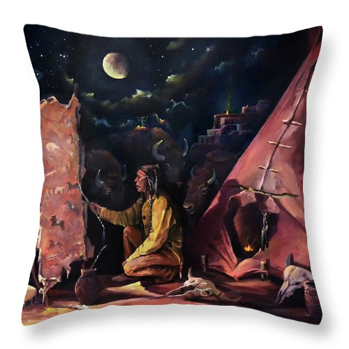 Hide Throw Pillow featuring the painting Prayer For The Protectors by Nancy Griswold