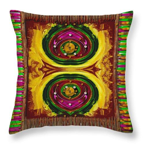 Prayerrug Throw Pillow featuring the mixed media Prayer Rug by Pepita Selles