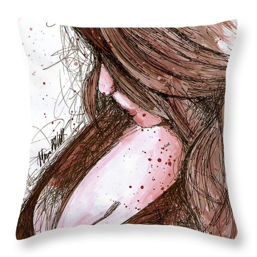 Beautiful Girl Throw Pillow featuring the painting Praying For Rain by Marco Paludet