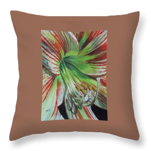 Amaryllis Throw Pillow featuring the painting Precious by Barbara Keith