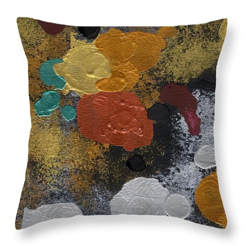 Acrylic Painting Graphic Matalic Throw Pillow featuring the painting Precious Metals by Eileen Blair