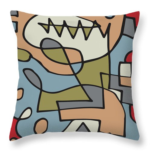 Abstract Throw Pillow featuring the digital art Prehistoric by Paul Wilkinson