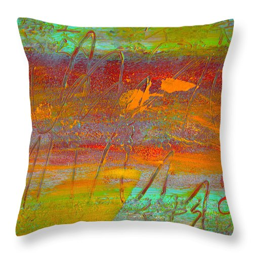 Abstract Throw Pillow featuring the painting Prelude To A Sigh by Wayne Potrafka