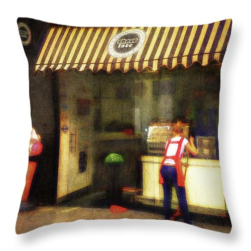 Cafe Throw Pillow featuring the photograph Preparing The Ice Cream Shop by Peter Hayward Photographer