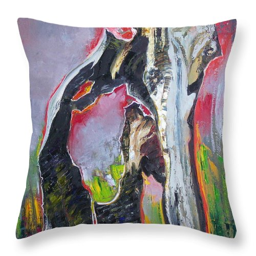 Oil Throw Pillow featuring the painting Presentiment by Sergey Ignatenko