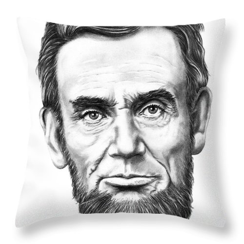 President Abe Lincoln Throw Pillow featuring the drawing President Abe Lincoln by Murphy Elliott
