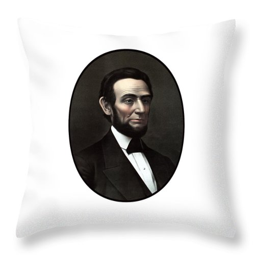 Abraham Lincoln Throw Pillow featuring the painting President Abraham Lincoln by War Is Hell Store