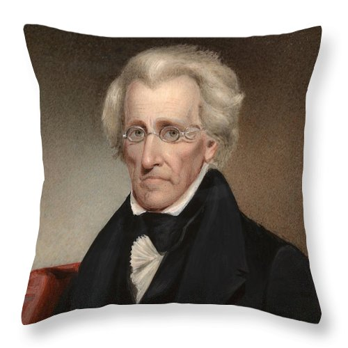 Andrew Jackson Throw Pillow featuring the painting President Andrew Jackson Painting by War Is Hell Store