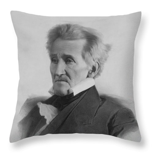 President Jackson Throw Pillow featuring the drawing President Andrew Jackson - Three by War Is Hell Store