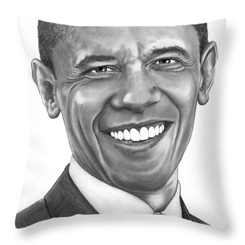 Drawing Throw Pillow featuring the drawing President Barack Obama By Murphy Art. Elliott by Murphy Elliott