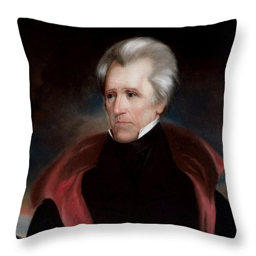 Andrew Jackson Throw Pillow featuring the painting President Jackson by War Is Hell Store