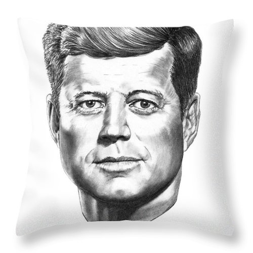 President John Kennedy Throw Pillow featuring the drawing President John F. Kennedy by Murphy Elliott