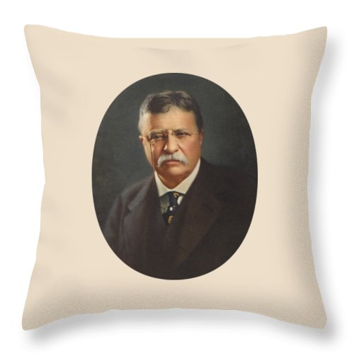 President Roosevelt Throw Pillow featuring the painting President Theodore Roosevelt - Rough Rider, Governor And President by War Is Hell Store