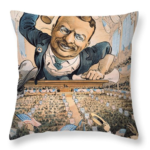 1904 Throw Pillow featuring the photograph Presidential Campaign, 1904 by Granger