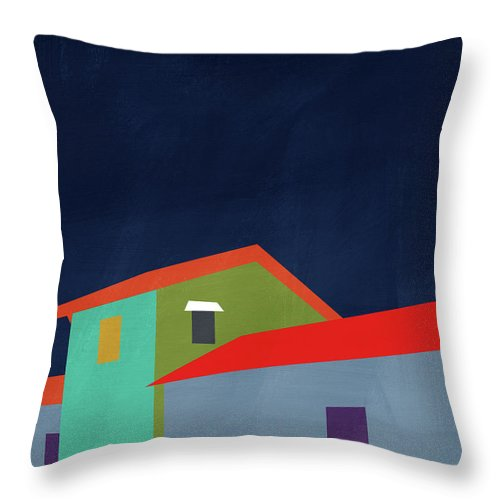 Houses Throw Pillow featuring the mixed media Presidio- Art By Linda Woods by Linda Woods