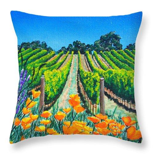 Vineyard Throw Pillow featuring the painting Presidio Vineyard by Angie Hamlin