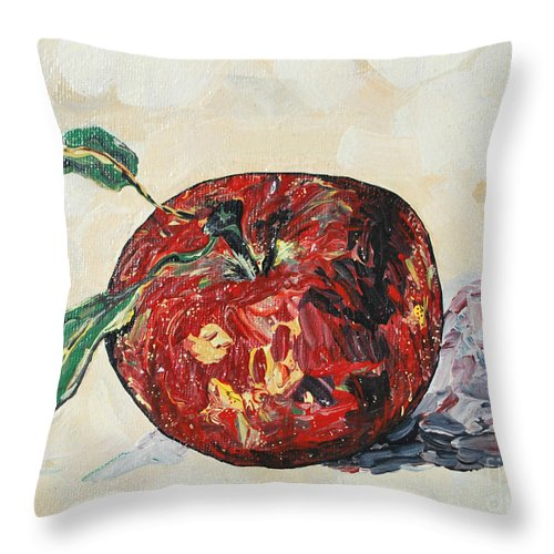 Apples Throw Pillow featuring the painting Pretty Apple by Reina Resto
