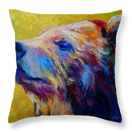 Bear Throw Pillow featuring the painting Pretty Boy - Grizzly Bear by Marion Rose
