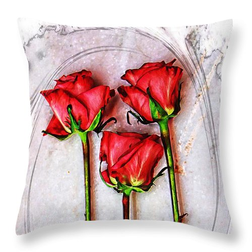 Pink Roses Throw Pillow featuring the photograph Pretty Girl by Clare Bevan