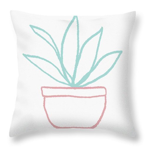 Potted Plant Throw Pillow featuring the mixed media Pretty Potted Plant Illustration- Art By Linda Woods by Linda Woods
