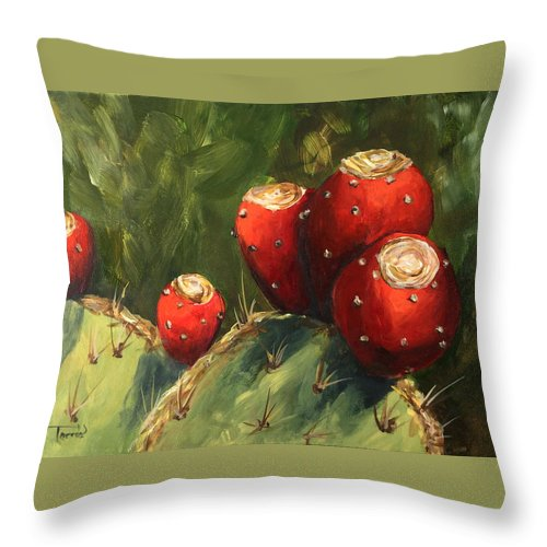 Prickly Pear Throw Pillow featuring the painting Prickly Pear III by Torrie Smiley