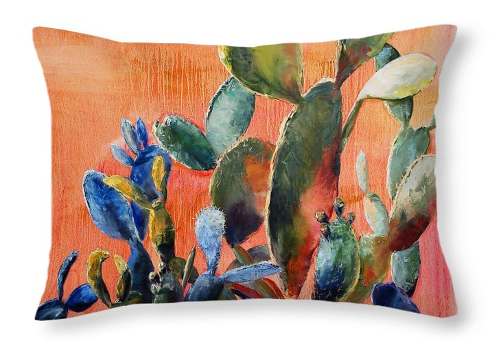 Cactus Throw Pillow featuring the painting Prickly Pear by Lynee Sapere