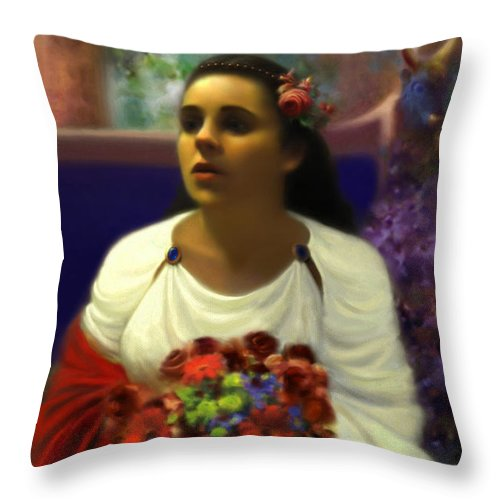 Goddess Throw Pillow featuring the digital art Priestess of the Floral Temple by Stephen Lucas