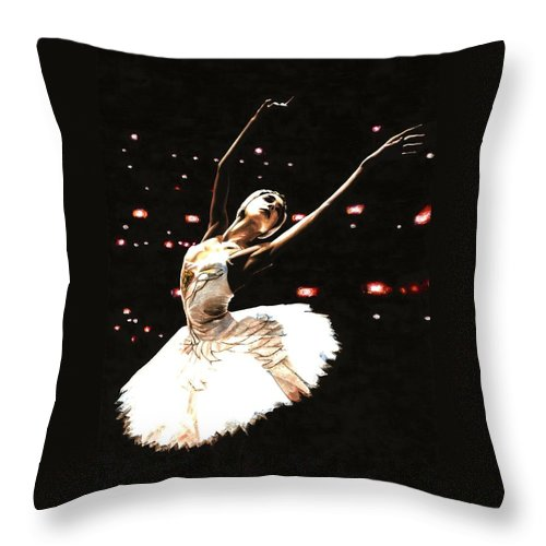 Prima Ballerina Throw Pillow featuring the painting Prima Ballerina by Richard Young