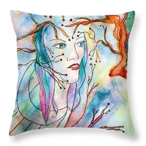 Face Throw Pillow featuring the painting Primal Instinct by Robin Monroe