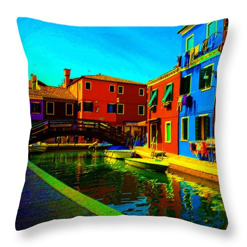 Burano Throw Pillow featuring the pastel Primary Colors 2 by Donna Corless