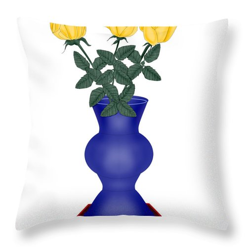 Blue Vase Throw Pillow featuring the painting Primary Colors by Anne Norskog