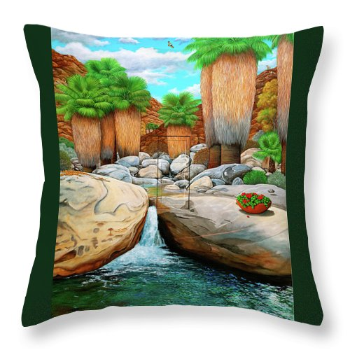 Landscape Throw Pillow featuring the painting Primary Escape Route by Snake Jagger